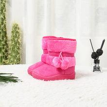 JGSHOWKITO בנות מגפי חורף ילדי נעלי כותנה חמה קטיפה בתוך ילדי שלג מגפי אנטי חלקלק פרווה כדור תליון חמוד מגפיים(China)