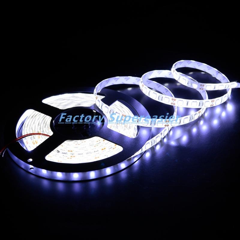 Flexible LED Strips Bright Cool White 5M SMD 5050 Lighting 30LEDs/meter 150 LEDs Lights DC12V Waterproof IP65 #10045(China (Mainland))