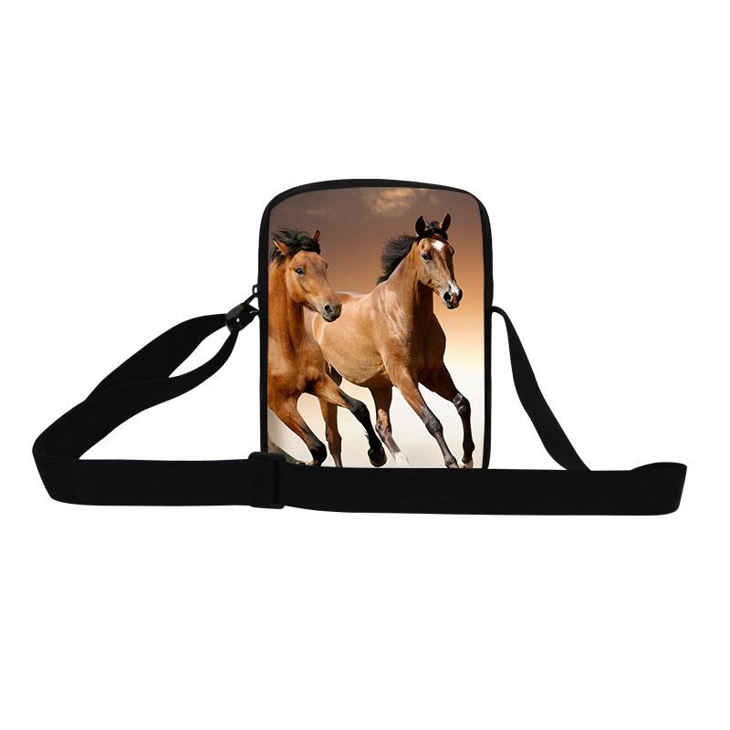 Horse Small Messenger Bag for Men Animal Print cross body Bag for teens,Fashion shopping bags for boy,cool stylish designer bag(China (Mainland))