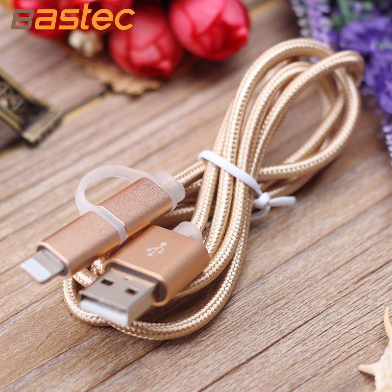 Bastec USB Cable For Micro iPhone Universal 2 in 1 Charger Aluminum 1M Mobile Phone Cables Charging For Samsung iPad ios Data(China (Mainland))