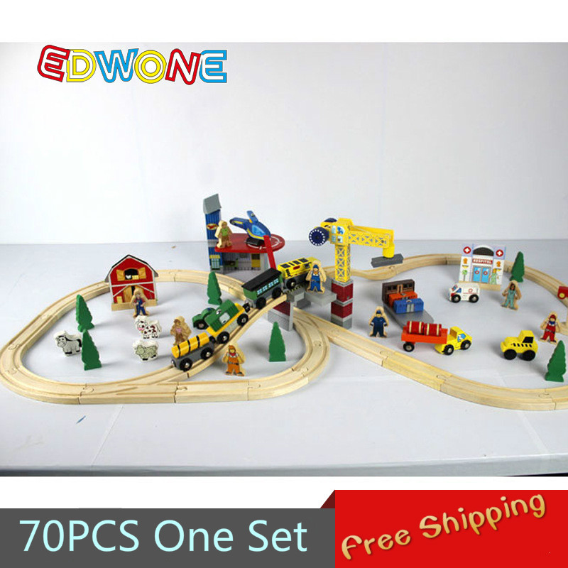 Thomas and Friends--70PCS Thomas Train Track Set Crane Farm Beech Wooden Railway Track EDWONE fit Thomas and Brio Gifts For Kids(China (Mainland))