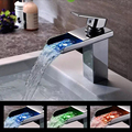 Free shipping soild brass chrome finish bathroom faucet 3 color led waterfall washbasin faucets square spout