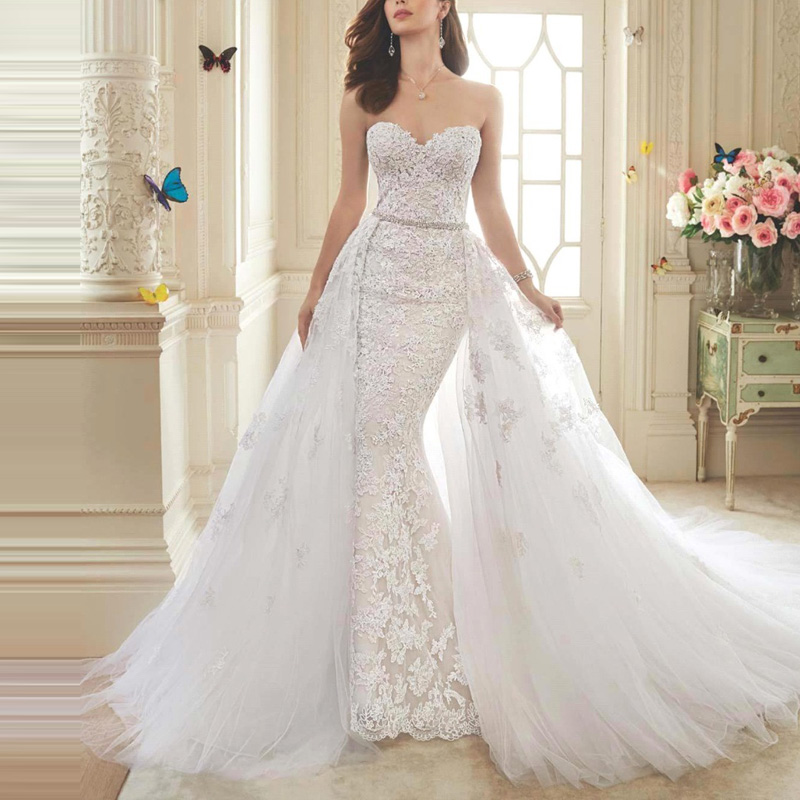 2016 Lace Mermaid Wedding Dress Detachable Train Skirt