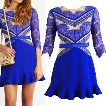 2014 new fashion hot style five sleeves lace dresses blue long three floor