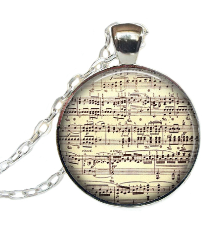 Hot Fashion Musical sheet necklace Music note necklace jewelry pendant Musician glass dome jewelry(China (Mainland))