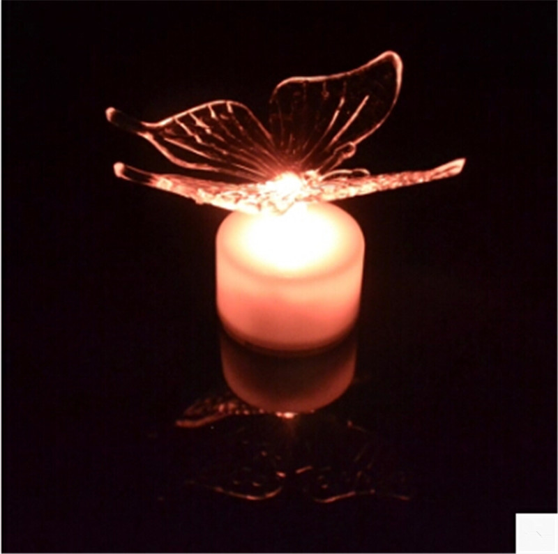 10pcs/lot Flash acrylic butterfly led night light luminous lamp with suction pad for baby room decor wedding party supplies(China (Mainland))