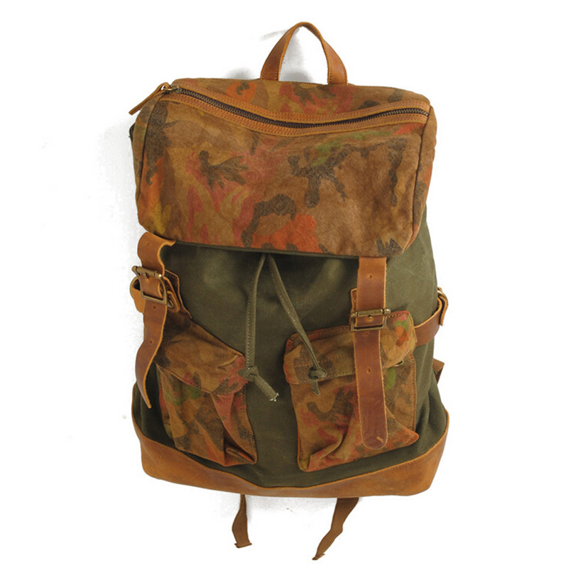 Fashion Canvas Vintage Rucksack Large Capacity Traveling Backpacks Military Backpack Tactical British Camouflage Men's Bags 140 - HUIZHID store