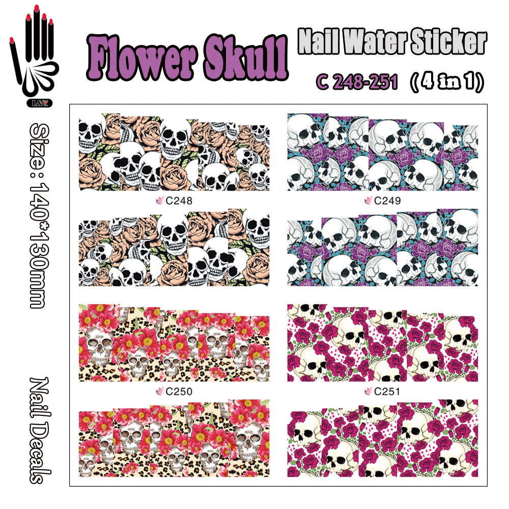 4 Sheets/Lot Nail C248-251 Flower Skull Nail Art Transfer Water Decal for Nail Art Decorations(4 DESIGNS IN 1)(China (Mainland))