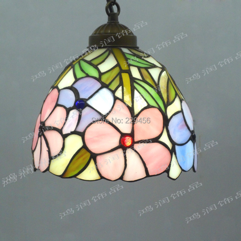 Tiffany Pendant Light Stained Glass Lampshade Fresh Country Flowers Hanging Lamp Lamparas Lustre E27 110-240V(China (Mainland))