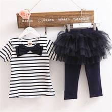 2016 Kid Girl Stripe Bow Top T-shirt + Tutu Skirt Leggings Culottes 2 pcs Outfit Sets