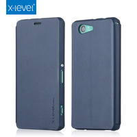 Luxury Book Original X-Level High-quality Classic Flip Stand Cover PU Leather case for Sony Z3 Compact /Z3 mini Protective Bag