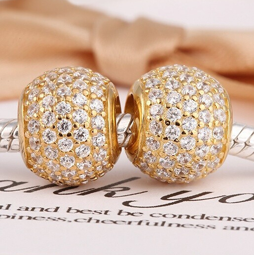 925 Sterling Silver Charms 14k Gold Plated Charms CZ Stone Bead DIY Making Jewelry Promotion fits Pandora style Bracelets(China (Mainland))