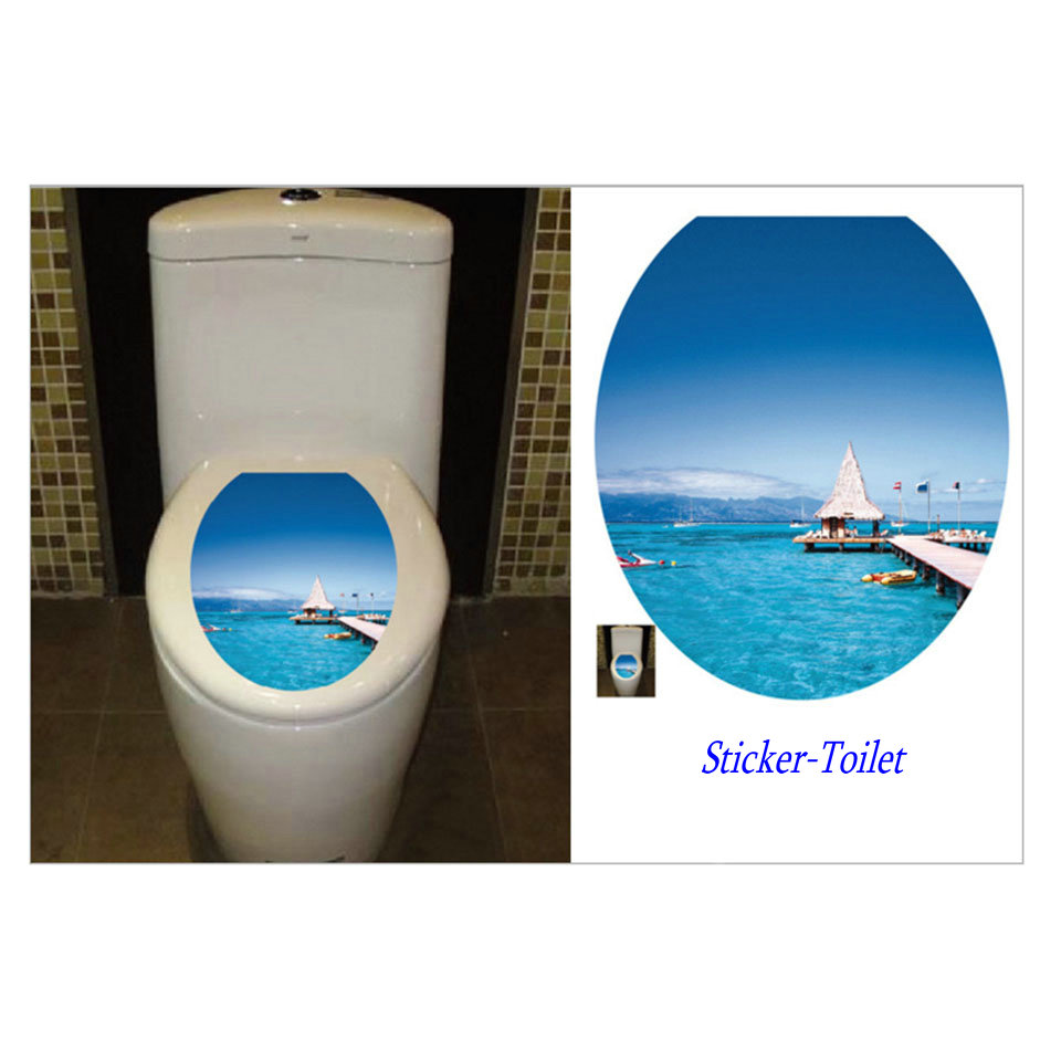 Seaside toilet stickers wall decoration vinyl wc - Stickers deco wc ...