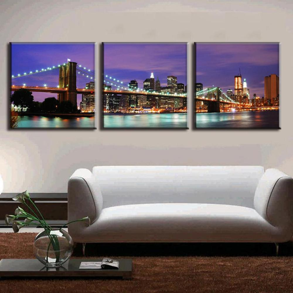 2016 3 Pcs/Set Landscape Canvas Prints The Purple Night Of New York City On The Brooklyn Bridge Wall Pictures For Living Room(China (Mainland))