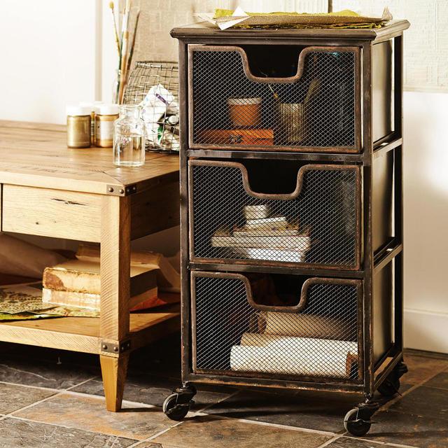 Franse rustieke meubels smeedijzeren loft industri le vintage gewassen witte spar laden - Ingang kast ...
