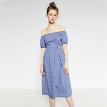 Women Off shoulder Blue And White Striped Dress Summer 2016 Women Preppy Cute Slash Neck Dress Shirt Casual Midi Vestidos Belt(China (Mainland))