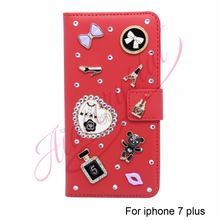 Aidocrystal red Case For iPhone 7 plus Cover Leather Luxury Flip Mobile Phone Wallet Case For Apple iPhone 7 plus Book Cases