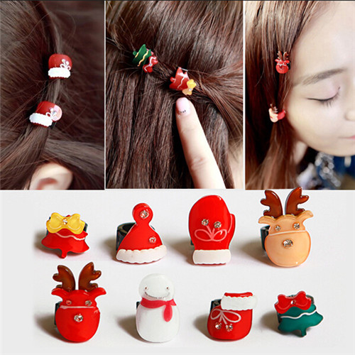 New Bulk Christmas Ornaments 8pcs/lot Christmas Tree Reindeer Snowman Hair Accessories Decoration for Girls Adornos Navidad(China (Mainland))