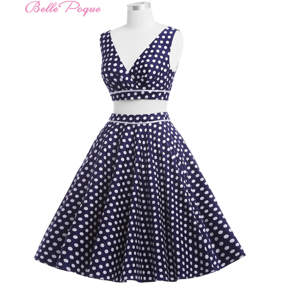 Belle Poque 0026 White Pink Navy Blue Women Dress Two-Piece Polka Dots Retro Vintage Dresses Picnic Rockabilly - Classic Garment store