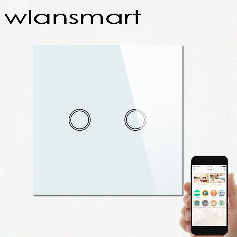 Wlansmart smart phone Remote Wall touch Switch,EU 86*86mm,RF 433MHz,control lamps light via broadlink,Luxury White Crystal Glass - Flagship Store store