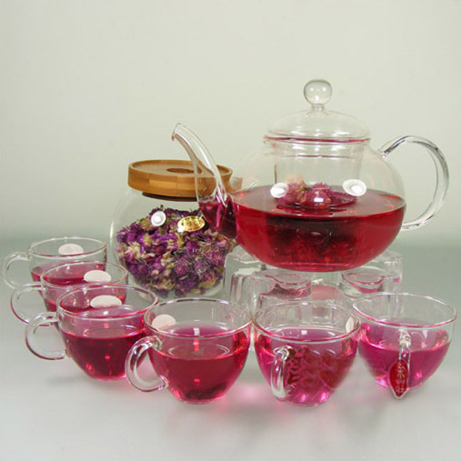 Coffee Cup Set 1 Heat resistant Glass Pot 6 Double wall Cups 1 Warmer 5 Candles