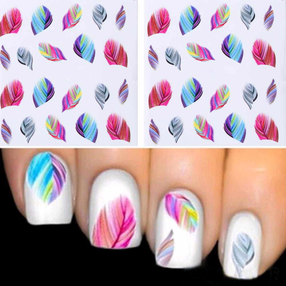 TOMTOSH 1PCS new rainbow feather color nail stickers water shift stickers nail decoration(China (Mainland))