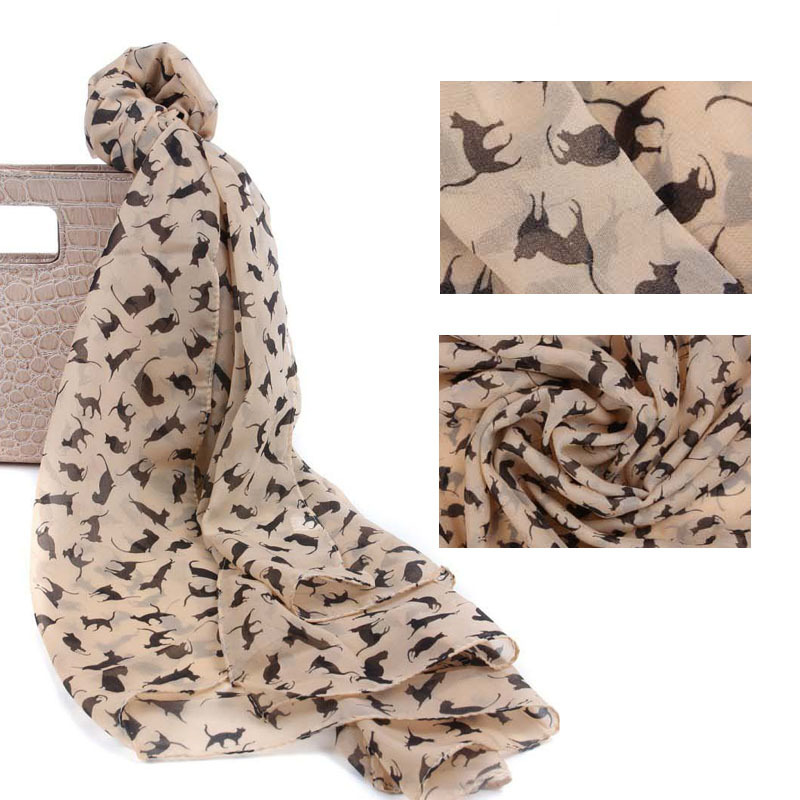 Chiffon Silk Scarf Female Summer All-match Soft Scarf Long Design Air Conditioning Tippet Lenco de Seda Little KittenPattern(China (Mainland))