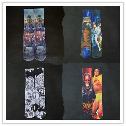 Супермен бэтмен америка капитан паук улица рок 3D печать носки Tie - краситель calcetin ...