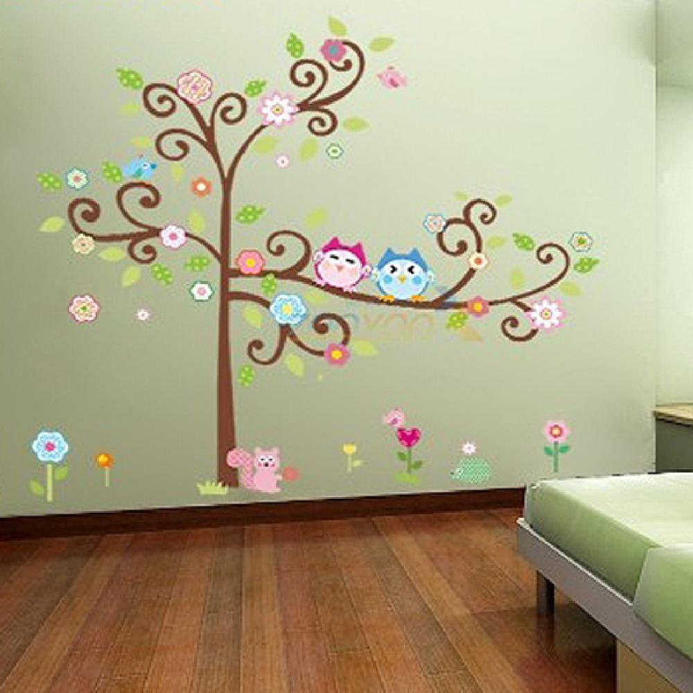 Work Well New Owl On The Tree Wall Decals Removable