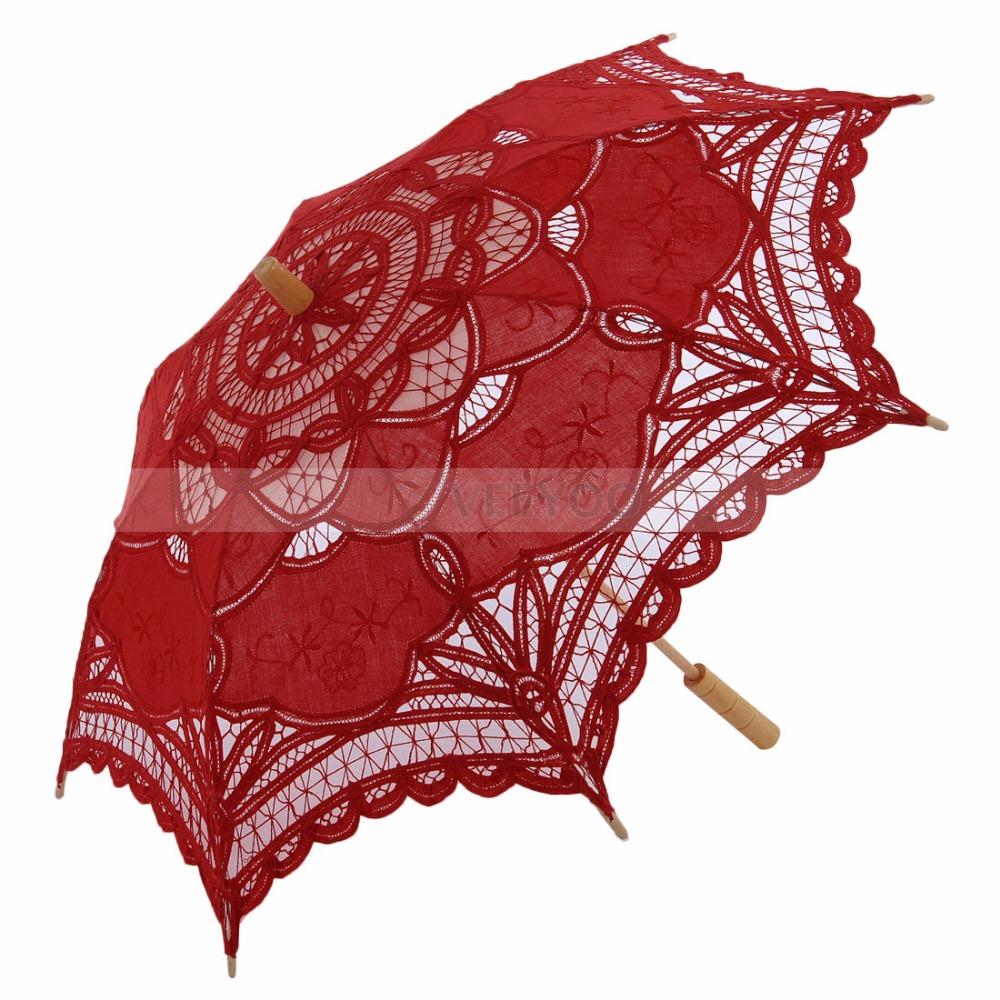 Rode lace parasol promotie winkel voor promoties rode lace parasol op - Zon parasol ...