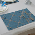 2pcs set 30 40cm Stereoscopic Flower Table Cloth Flocking Chequered Dining Table Mat Placemat Bowl Pad