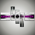 5 piece canvas art unframed cheap decorative pictures abstratas large purple handmade oil painting for living