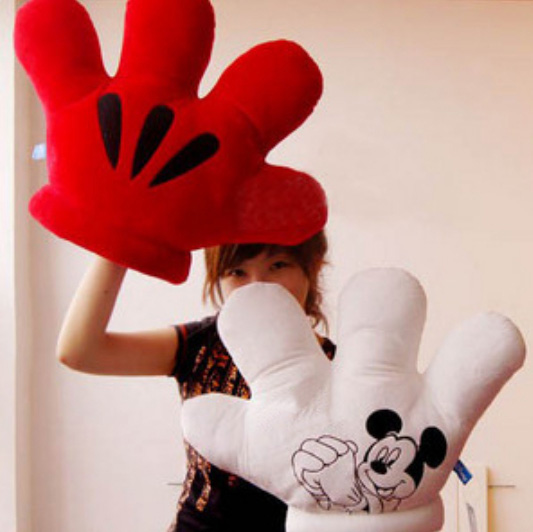 1 Pcs Retail MICKEY & Minnie MOUSE MICKEY Double Faced Big Gloves Soft Plush Cushion Pillow Plush Toy Xmas GiftFree Shipping(China (Mainland))