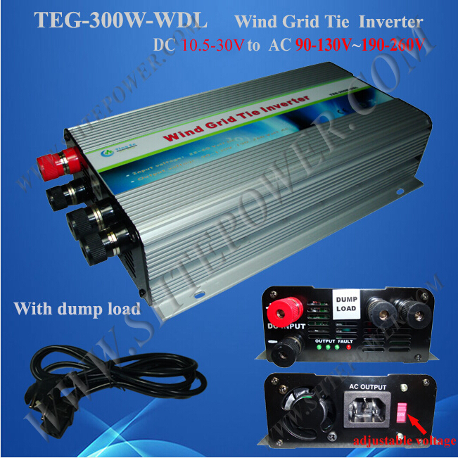 ce rohs available pure sine dc 10.5-30v to ac 90-130v 190-260v 300w wind inverter grid tie(China (Mainland))