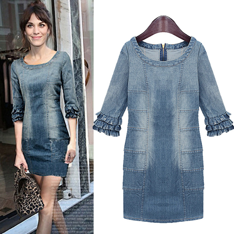 2014 spring and summer womenu0026#39;s new fashion solid denim dresshot sale girl jeans mini sexy dress ...