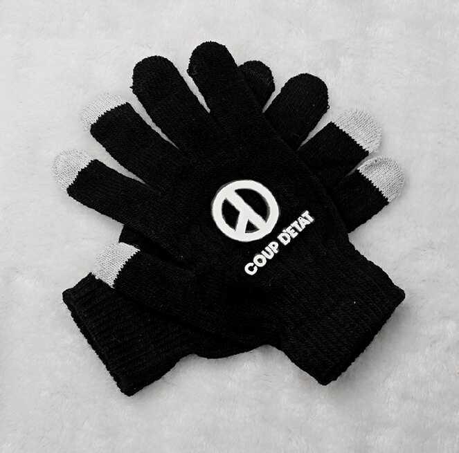 Kpop bigbang gd g-dragon coup d'etat printing black gloves korean style touch screen winter gloves for men women unisex(China (Mainland))