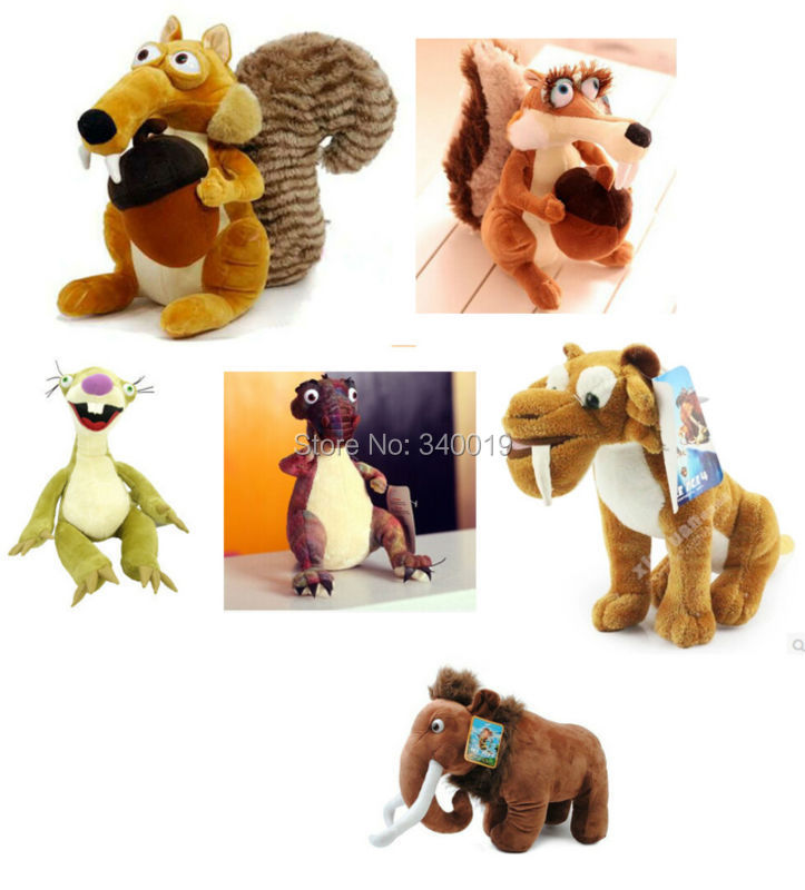 Ice Age 3 Manny Diego Sid Squirrel scrat Scratte dinosaurs Momma with tag 20 cm 1 pcs/set Stuffed Plush Toy(China (Mainland))