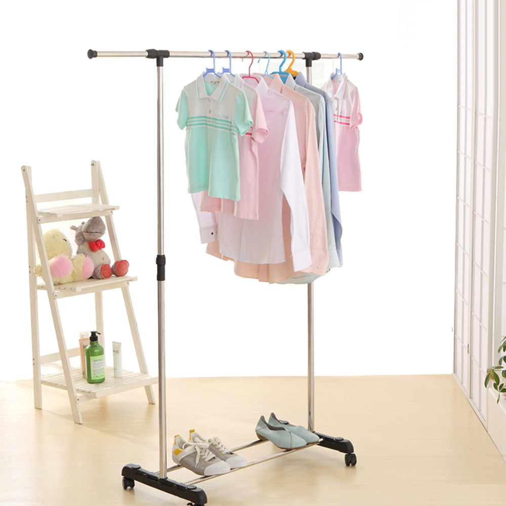 IKAYAA Garment Rack Metal Height Adjustable Clothes Garment Hanging Rack Width Extendable Clothes Display Organizer Clothes Rack(China (Mainland))
