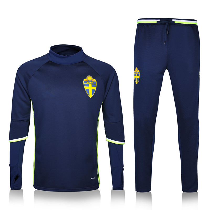 2016 Euro cup original Sweden soccer tracksuit chandal football training suit soccer jersey football kits Thailand quality(China (Mainland))