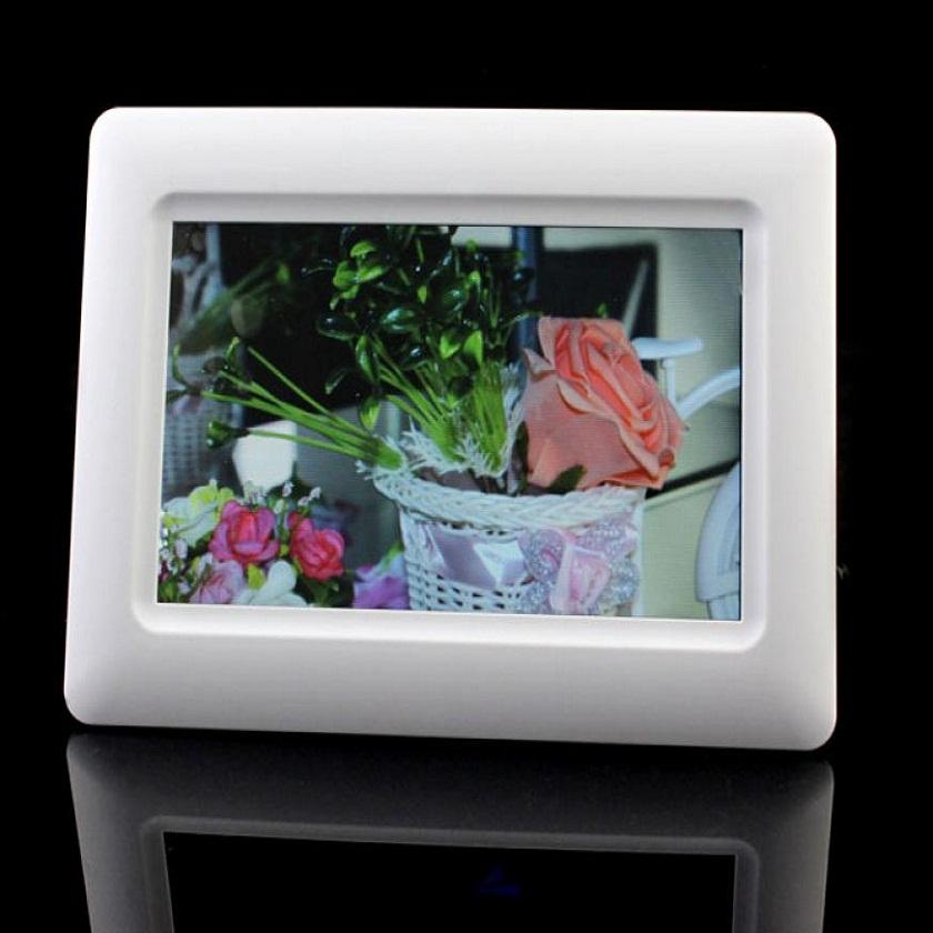 "Adroit White New 7"" TFT LCD Digital Photo Frame Alarm Clock Support U SD MMC MS USB US Plug MAR4(China (Mainland))"