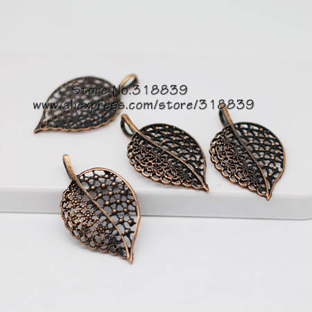30pcs/lot 23*40mm Antique Copper Metal Alloy Cameo Tree leaf Charms Jewelry Making Pendant 6492<br><br>Aliexpress