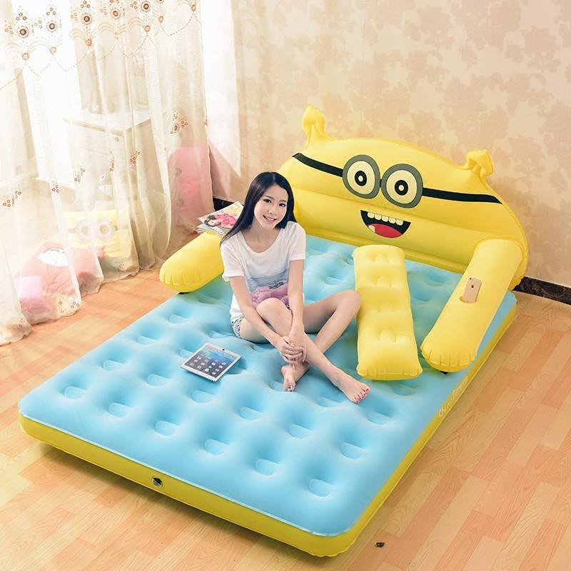 152CM*203CM*22CM Inflatable Mattress Thickened Folding Totoro Cartoon Bed With Backrest Soft Bed Cama Bedroom Furniture
