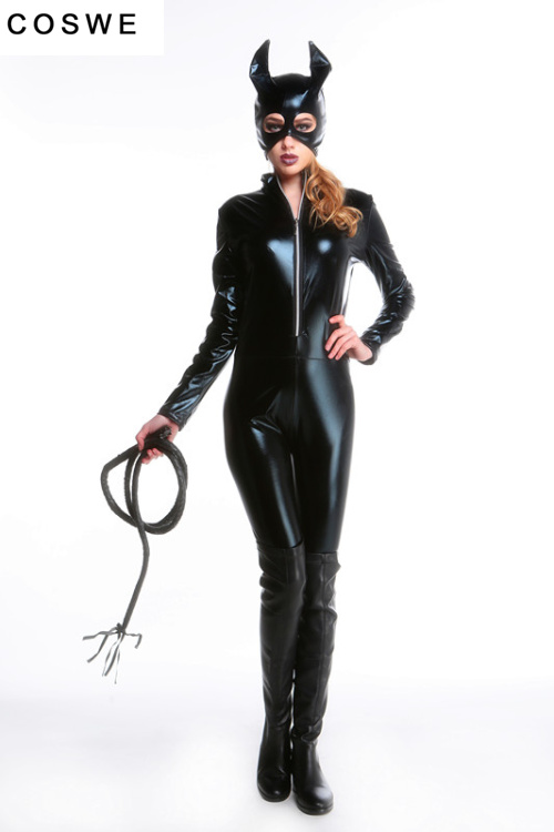 Sexy Latex Cat Suit Cat Costume Cosplay Lady Unique Wear Cat Black Animal Leather Cat Halloween Costumes For Women(China (Mainland))