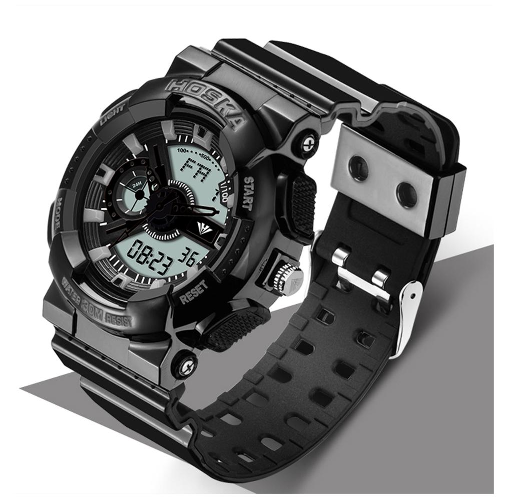 Бренд HOSKA мужские часы спорт Кварцевые часы и цифровой Двойной дисплей цифровой смотреть концерт LED цифровые часы мужчины водонепроницаемый h016n