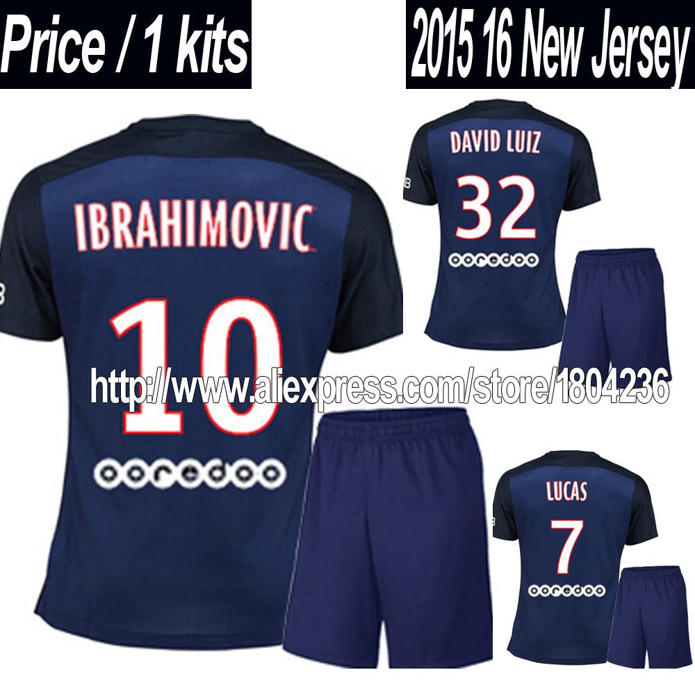 2015 2016 IBRAHIMOVIC Jerseys Soccer Kit 15 16 Home Blue Jerseys Football T SILVA LUCAS DAVID LUIZ Best Top High Quality(China (Mainland))