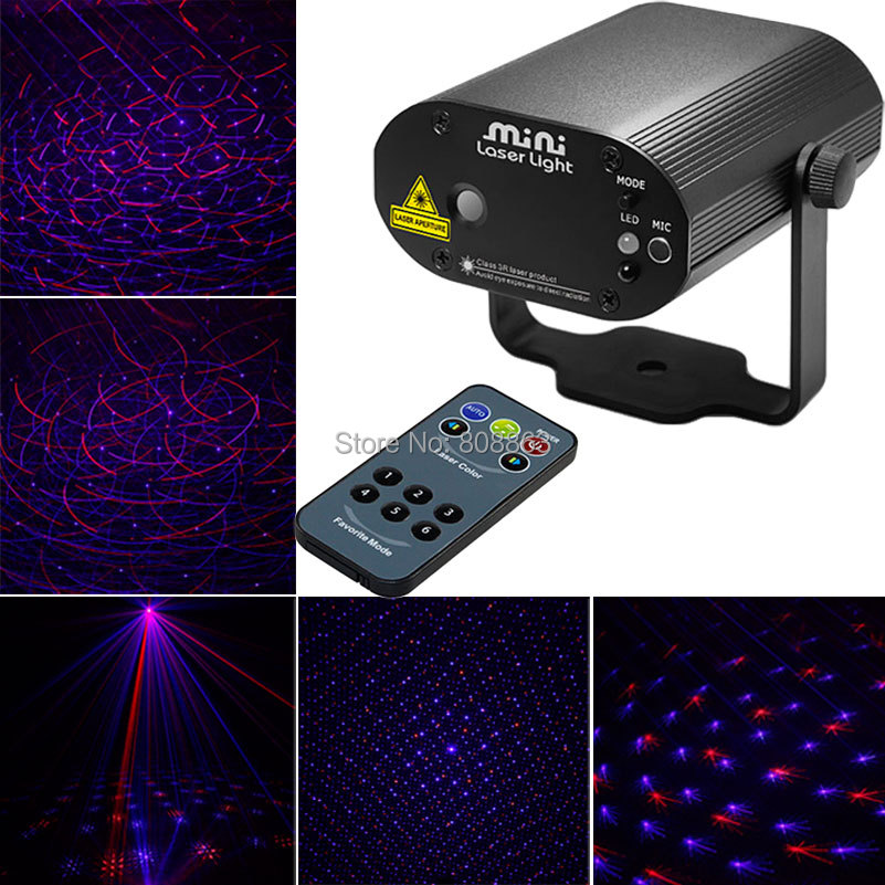 New Full Stars Lines Pattern Laser Projector Remote Red Blue Laser Stage Lighting disco Dance Party Light Show DJ light d46