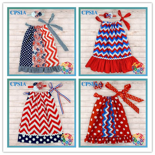 24sets lot USA 4th July Hot Baby Girl Pillowcase Dresses Red Navy Chevron Cotton 2years Party Dress - Yiwu City Yihon E-Commerce Firm store