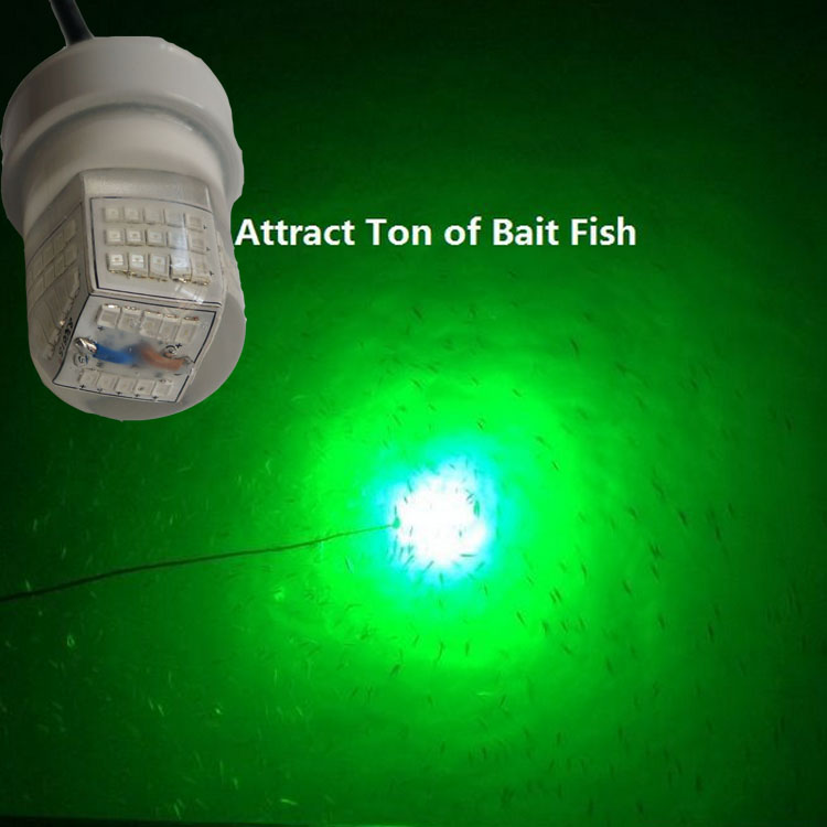 Green white 12v underwater led floating crappie fishing for Fishing light attractor