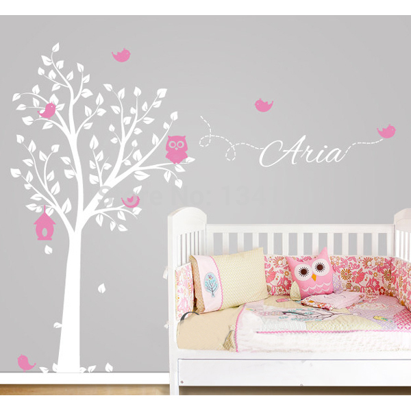 Custom made owl tree personalized name vinyl wall decals - Sticker chambre bebe fille ...