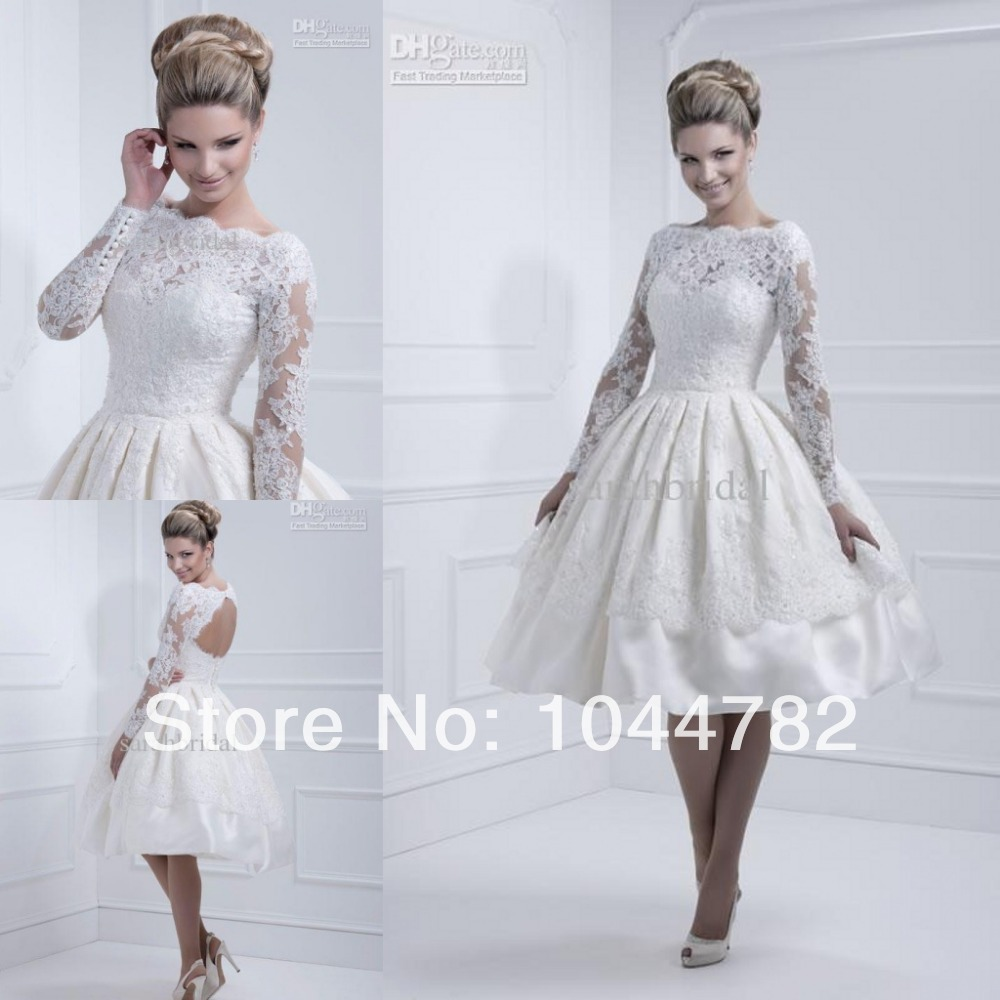 Elegant 2014 lace long sleeve knee length short wedding for Short elegant wedding dresses